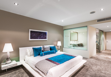 double bed in luxury gold coast accommodation