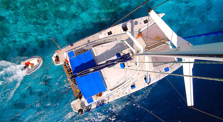 aerial view of private yacht