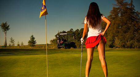 beautiful waitresses playing golf