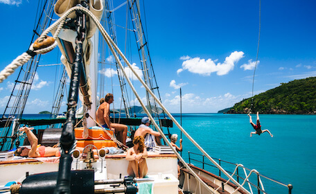 friends on boat in Airlie Beach