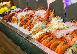 bucks eating seafood buffet