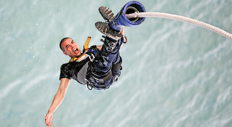 buck bungy jumping into water