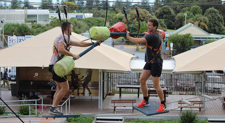 group of bucks battling on sky high obstacle challenge