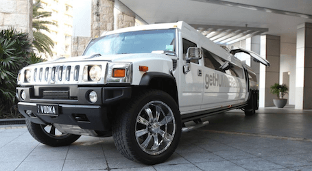 white stretched hummer