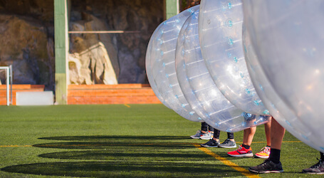 bucks group playing bubble soccer