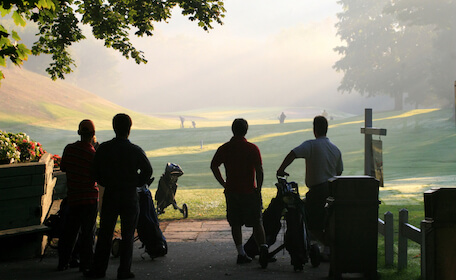 bucks group playing golf at wellington golf course