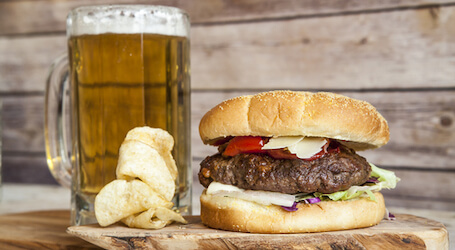 beer and juicy burger