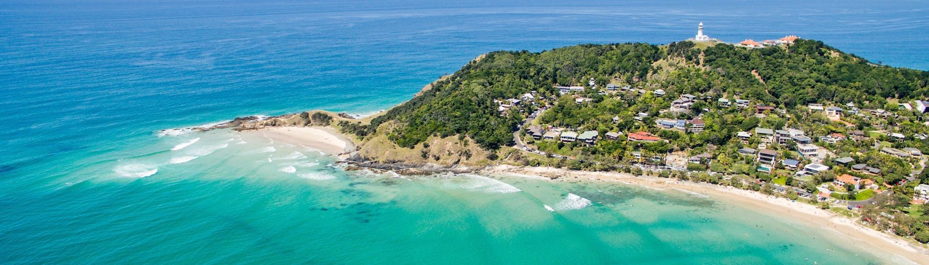 aerial view of byron bay city and beach