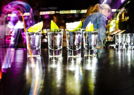 shots lineup at bar