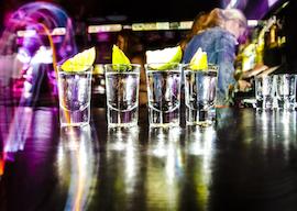 shots lineup at bar