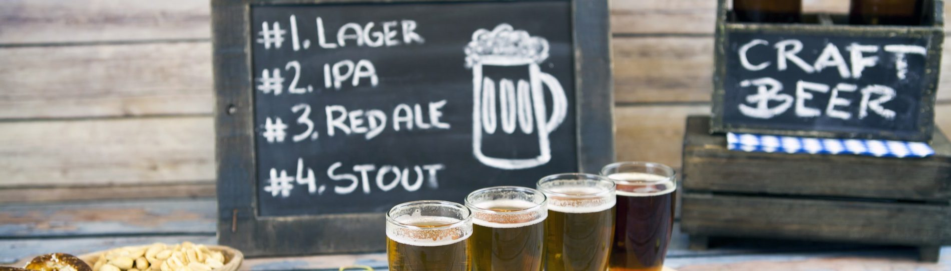 beer craft chalk board and beers