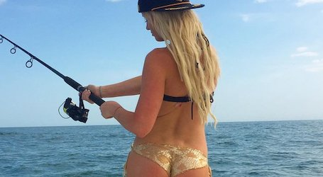 beautiful waitress fishing