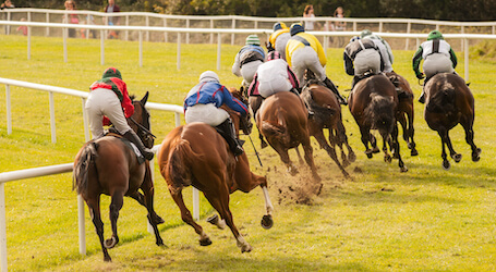 horses racing on race track
