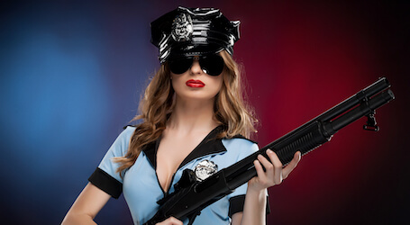 sexy waitress in police outfit