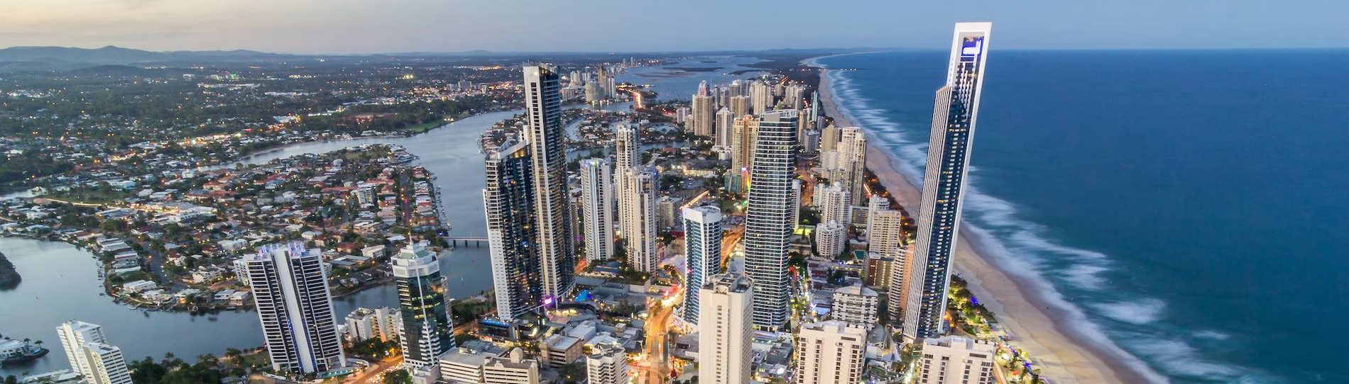 aerial view of gold coast city
