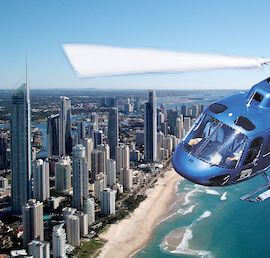 helicopter tour flying over the gold coast