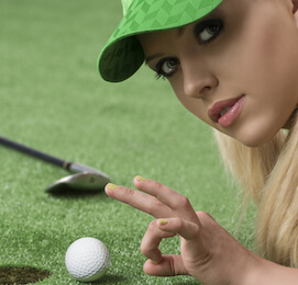 golf bunny flicking the ball into the hole