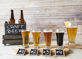 craft beers on a table at a beer brewery