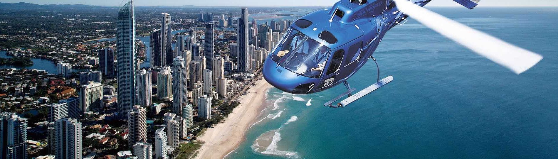 helicopter flying over the gold coast