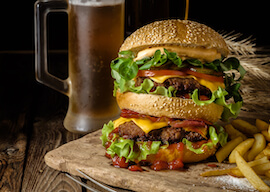 juicy burger and beer