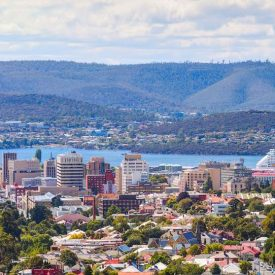 aerial view of hobart city