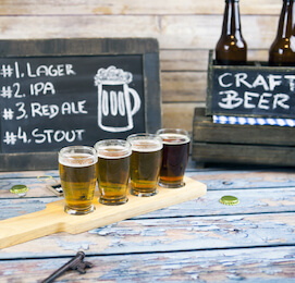 beer and craft beer with chalk board