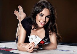poker dealer lying down with cards