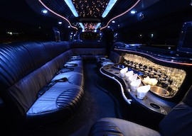 inside of flashy stretched hummer