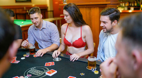 poker dealer lingerie waitress playing poker