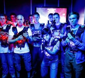 group of bucks playing laser skirmish