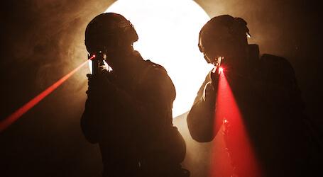 bucks playing laser skirmish