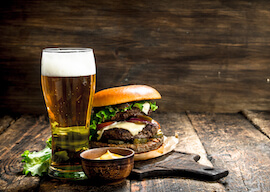 beer and burger on a table