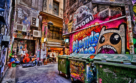 colourful melbourne city graffiti street art