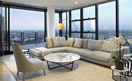 penthouse apartment overlooking city view of melbourne