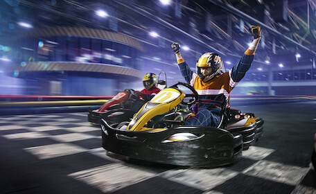 bucks racing race car on track