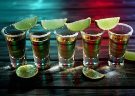 tequila shots with salt and limes