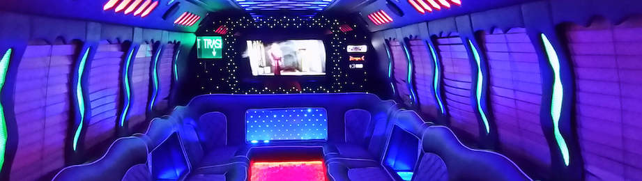 inside of bucks party bus transfer
