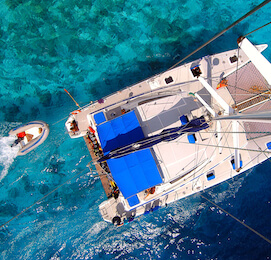 aerial view of yacht on the water