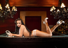 hot stripper in lingerie on pool table