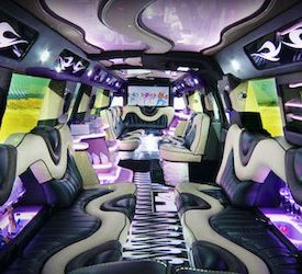 flashy interior of stretched hummer