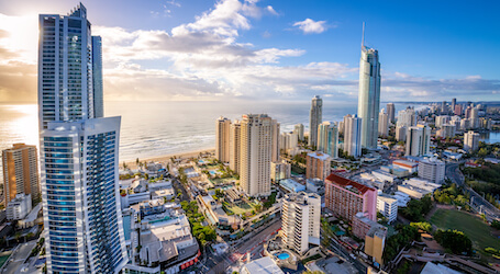 gold coast aerial view of surfers paradise city