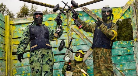 group of bucks playing paintball