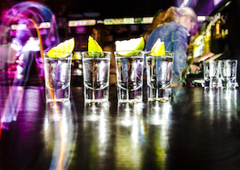 shots lined up at bar
