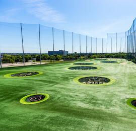 green goals on the top golf range