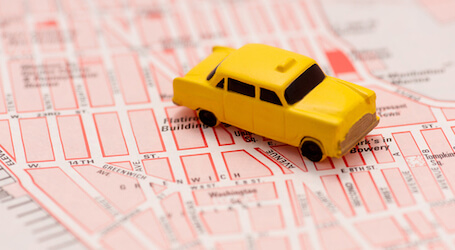 yellow cab on a map