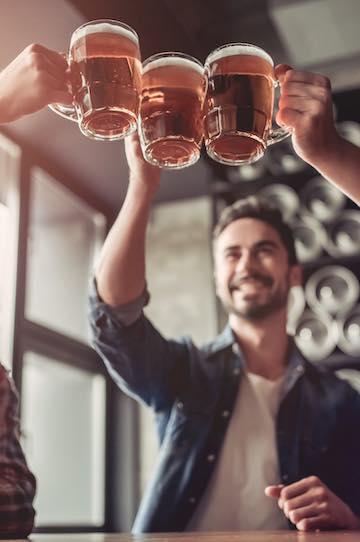 bucks group cheering beers