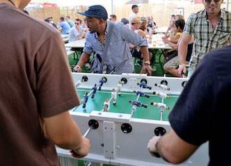 bucks playing foosball