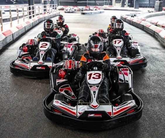 group of bucks racing go karts