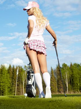 beautiful waitress playing golf
