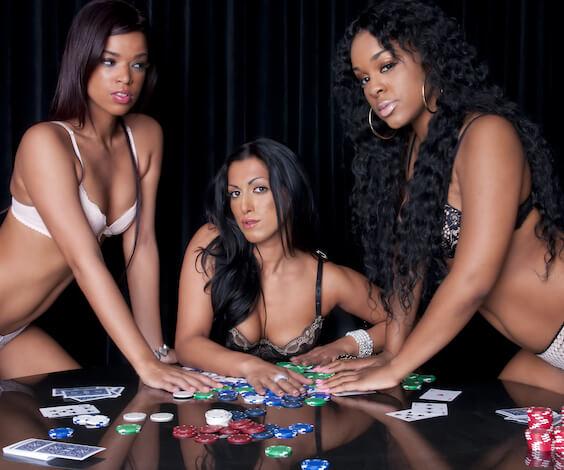 beautiful bucks waitresses playing poker